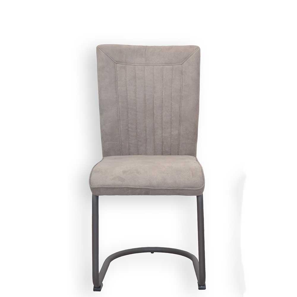 Esstisch Stühle in Grau Braun Microfaser Stahl (2er Set)