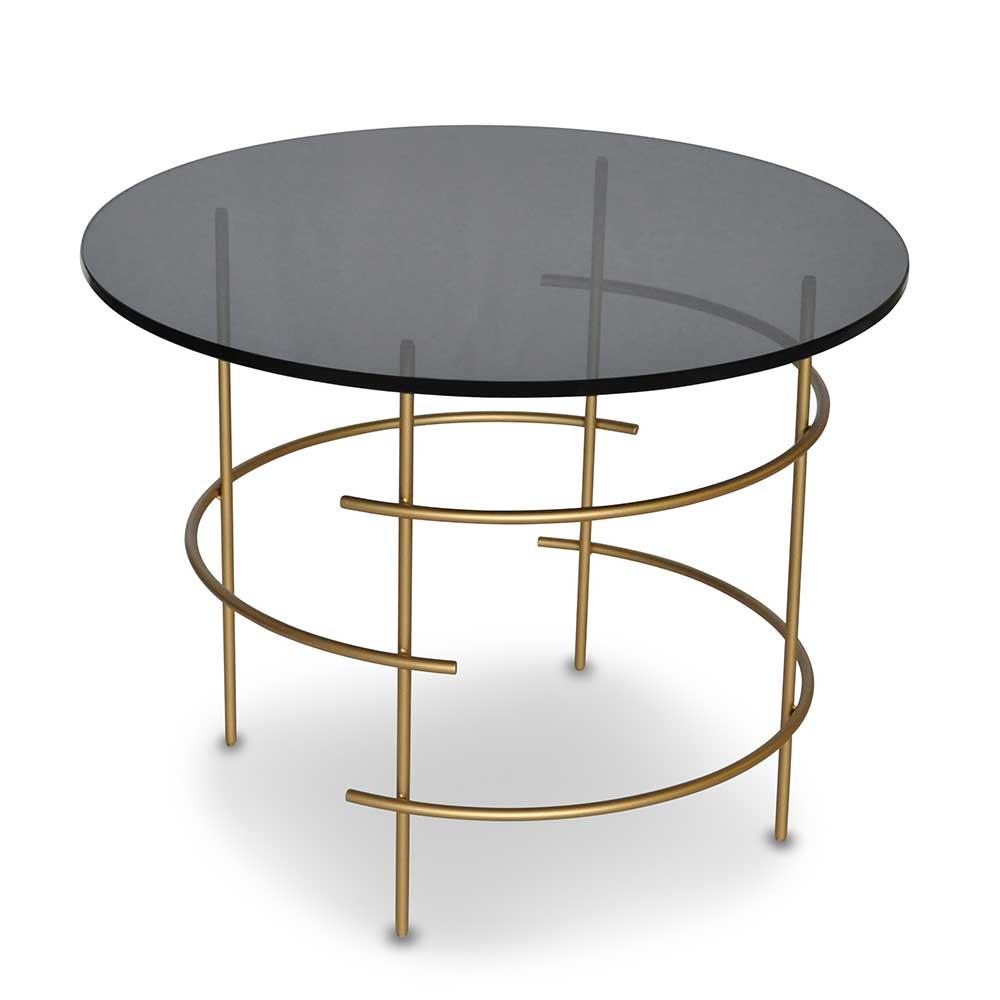 Glastisch mit Rauchglasplatte rund | Wohnzimmer > Tische > Glastische | Gelb | Glas - Metall | 4Home