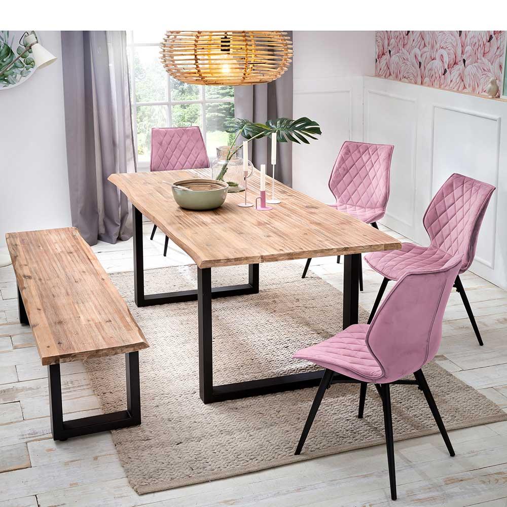 Moderne Essgruppe mit Baumkantentisch Stühlen in Rosa (sechsteilig)
