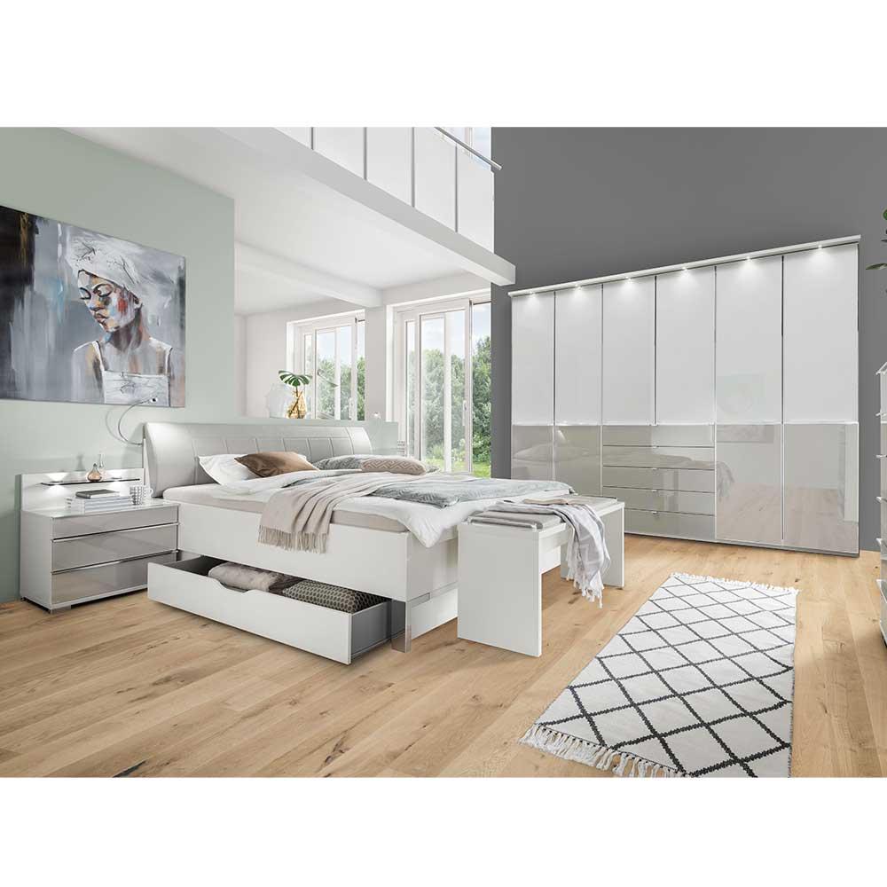 Schlafzimmerset in Weiß und Hellgrau modern (fünfteilig)