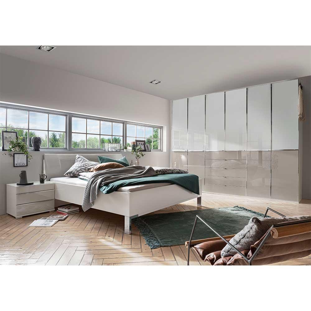 Komplettschlafzimmer in Weiß und Hellgrau Made in Germany (vierteilig)