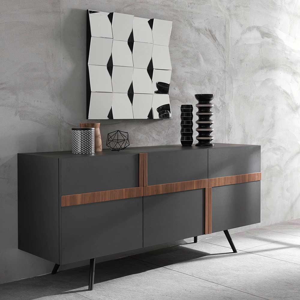 Sideboard in Anthrazit und Nussbaumfarben modern