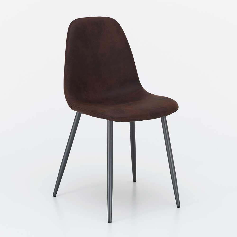 Esstisch Stühle in Dunkelbraun Kunstleder Metallgestell in Anthrazit (4er Set)