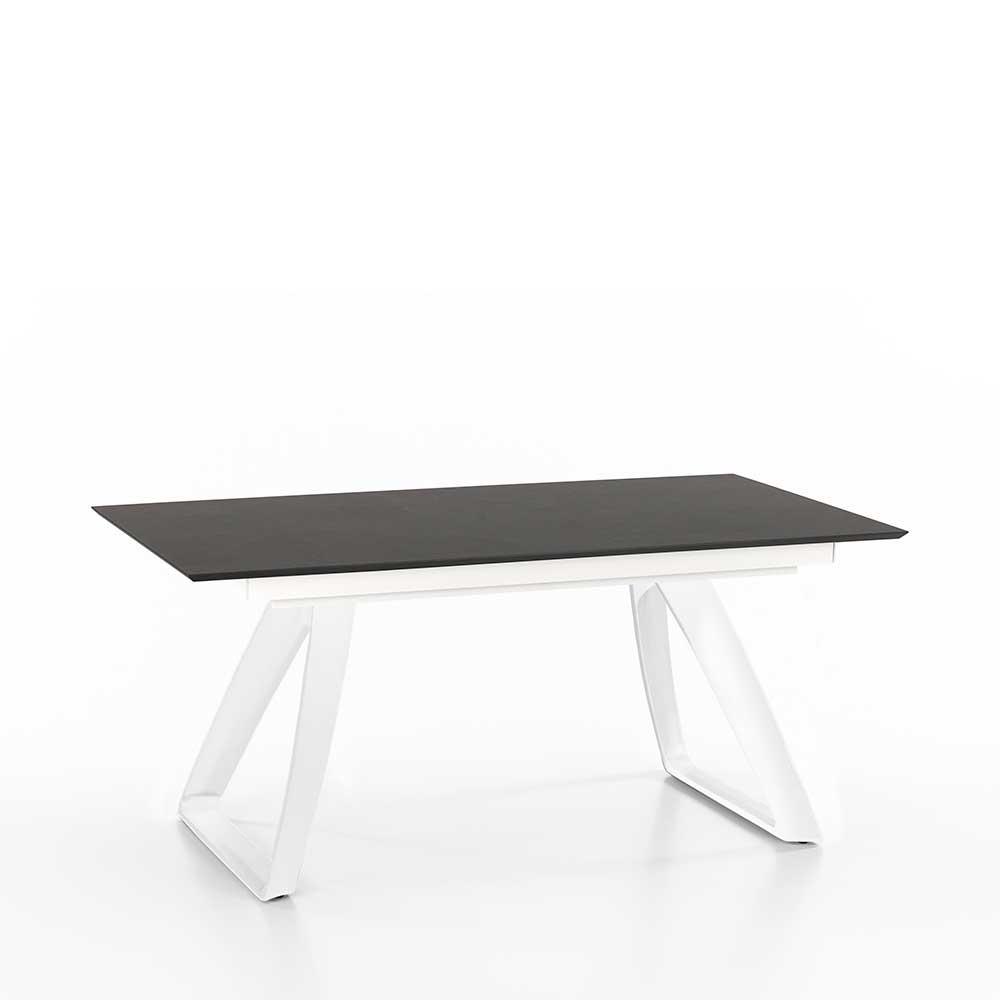 Bügelgestell Esstisch in Weiß und Dunkelgrau ausziehbar
