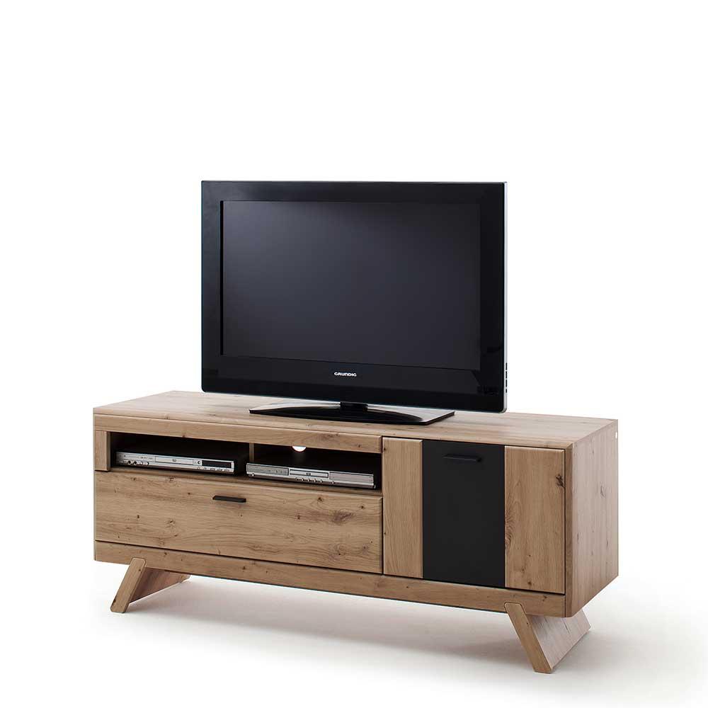 TV Lowboard in Eiche Optik und Dunkelgrau modern