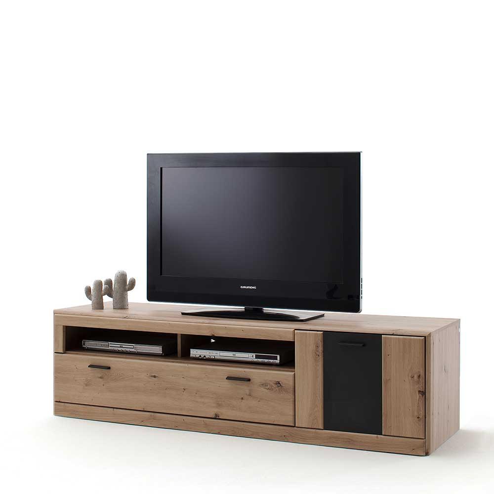 TV Möbel in Eiche Optik und Dunkelgrau 50 cm hoch