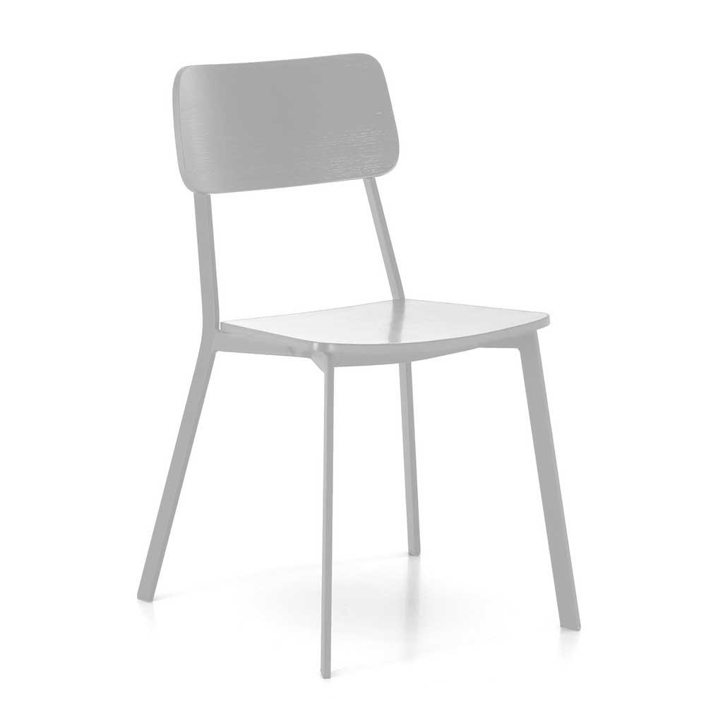 Esstischstuhl in Weiß Schichtholz und Metall (4er Set)