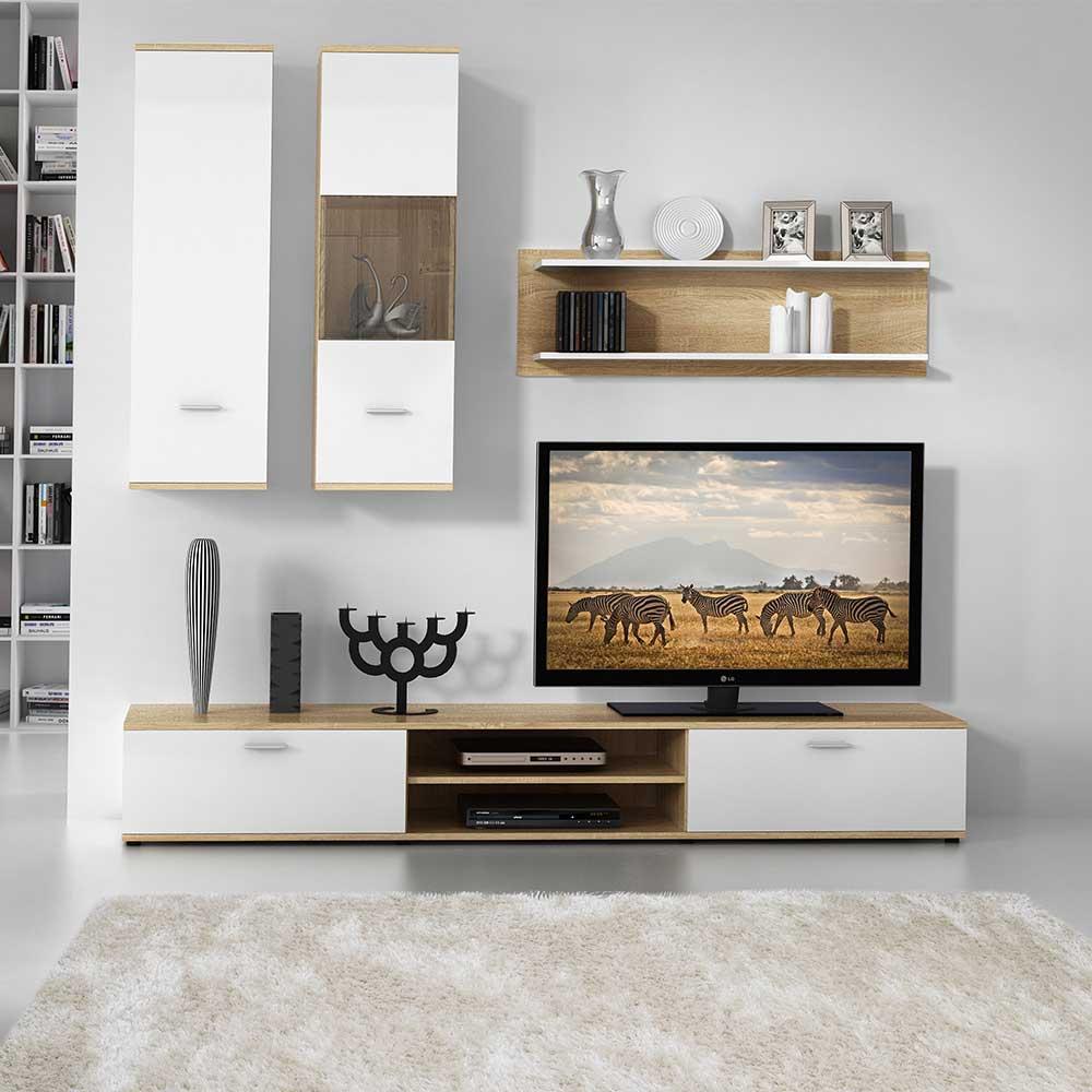 Design Wohnwand in Sonoma-Eiche und Weiß 190 cm breit (vierteilig)