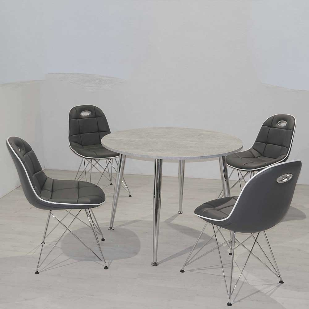 Retro Essgruppe mit rundem Tisch Beton Grau und Dunkelgrau (fünfteilig)