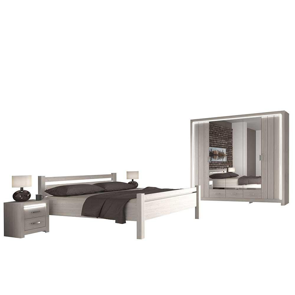 Komplett Schlafzimmerset in Weiß 180x200 cm Bett (vierteilig)