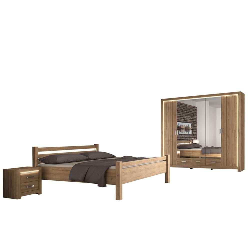Schlafzimmerset in Wildeichefarben 180x200 cm Bett (vierteilig)