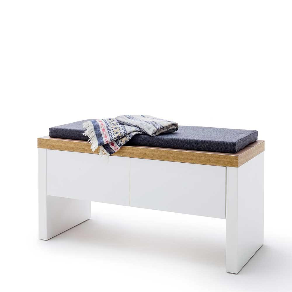 Garderobenbank in Weiß und Wildeiche Optik zwei Schubladen | Flur & Diele > Garderoben > Garderobenbänke | TopDesign