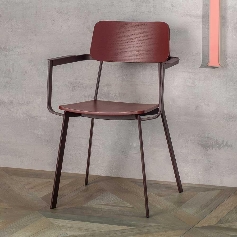 Esstisch Stühle in Violett Armlehnen (4er Set)