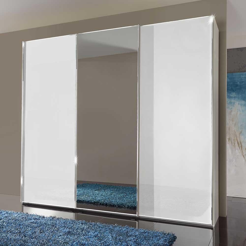 Schwebetüren Kleiderschrank 300 cm breit Weiß Glas