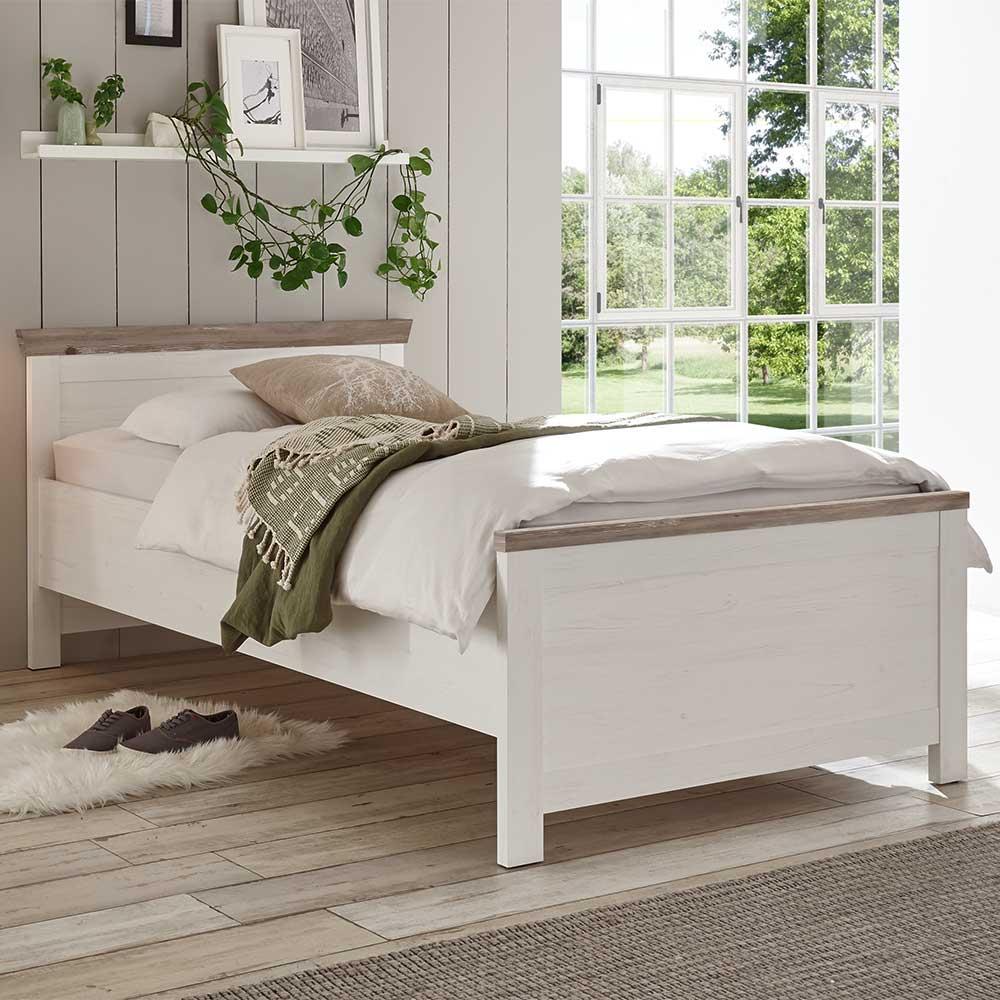 Landhausbett in Weiß Kieferfarben | Schlafzimmer > Betten > Landhausbetten | Brandolf