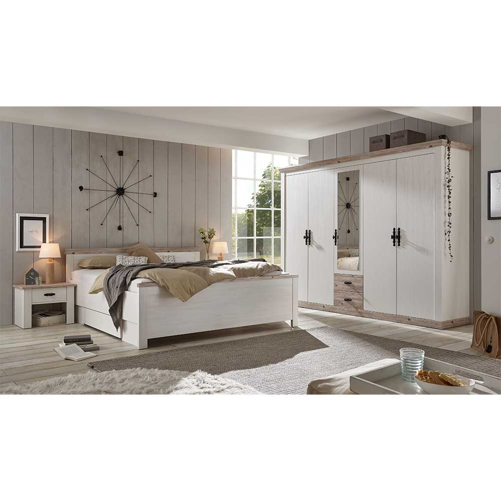 Schlafzimmerkomplettset in Weiß und Kieferfarben Doppelbett (vierteilig)