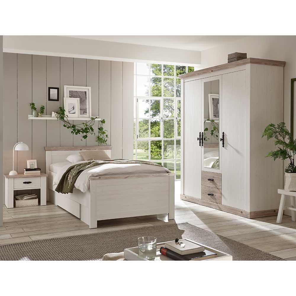 Schlafzimmerset in Weiß und Kieferfarben Landhaus Design (dreiteilig)