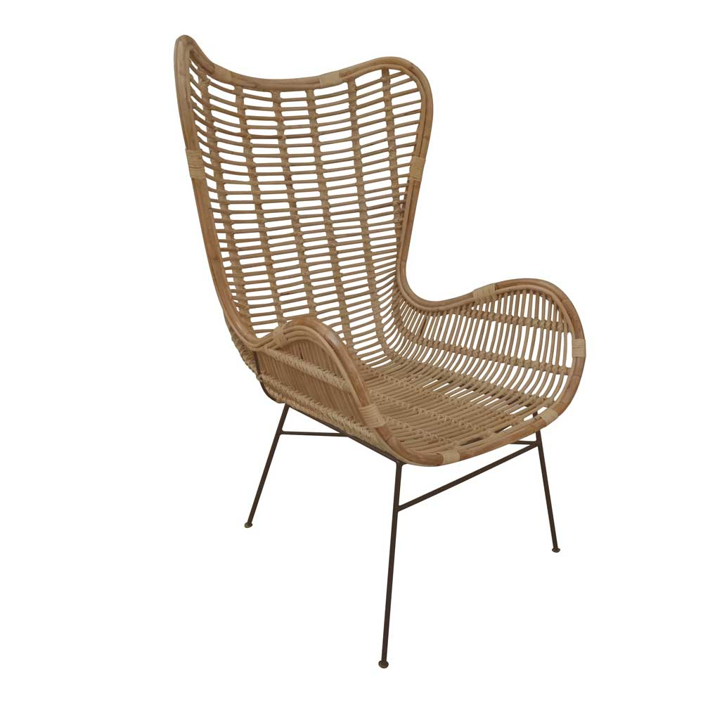 Rattan Sessel in Naturfarben Armlehnen