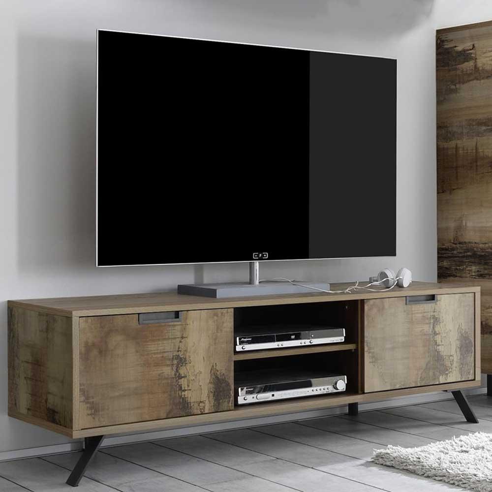 TV Lowboard im Industriedesign Altholz Optik und Anthrazit