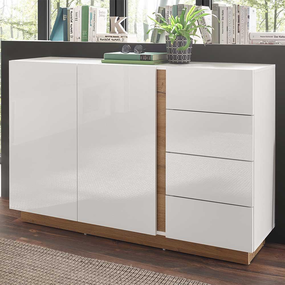 Wohnzimmer Kommode in Weiß und Wildeiche Optik Skandi Design