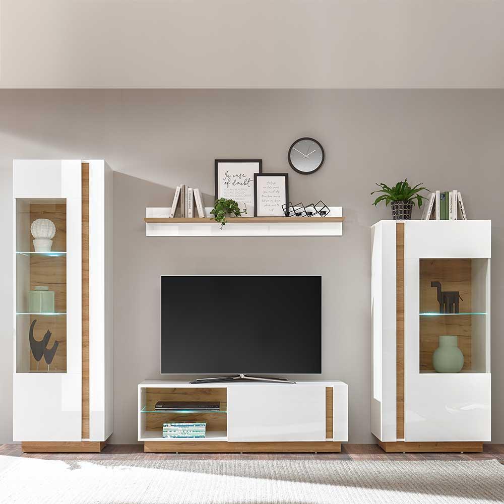Skandi Design Wohnwand in Weiß und Wildeiche Optik 270 cm breit (vierteilig)