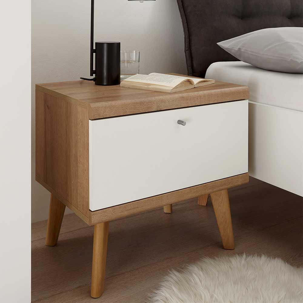 Nachttisch in Weiß und Eichefarben Skandi Design