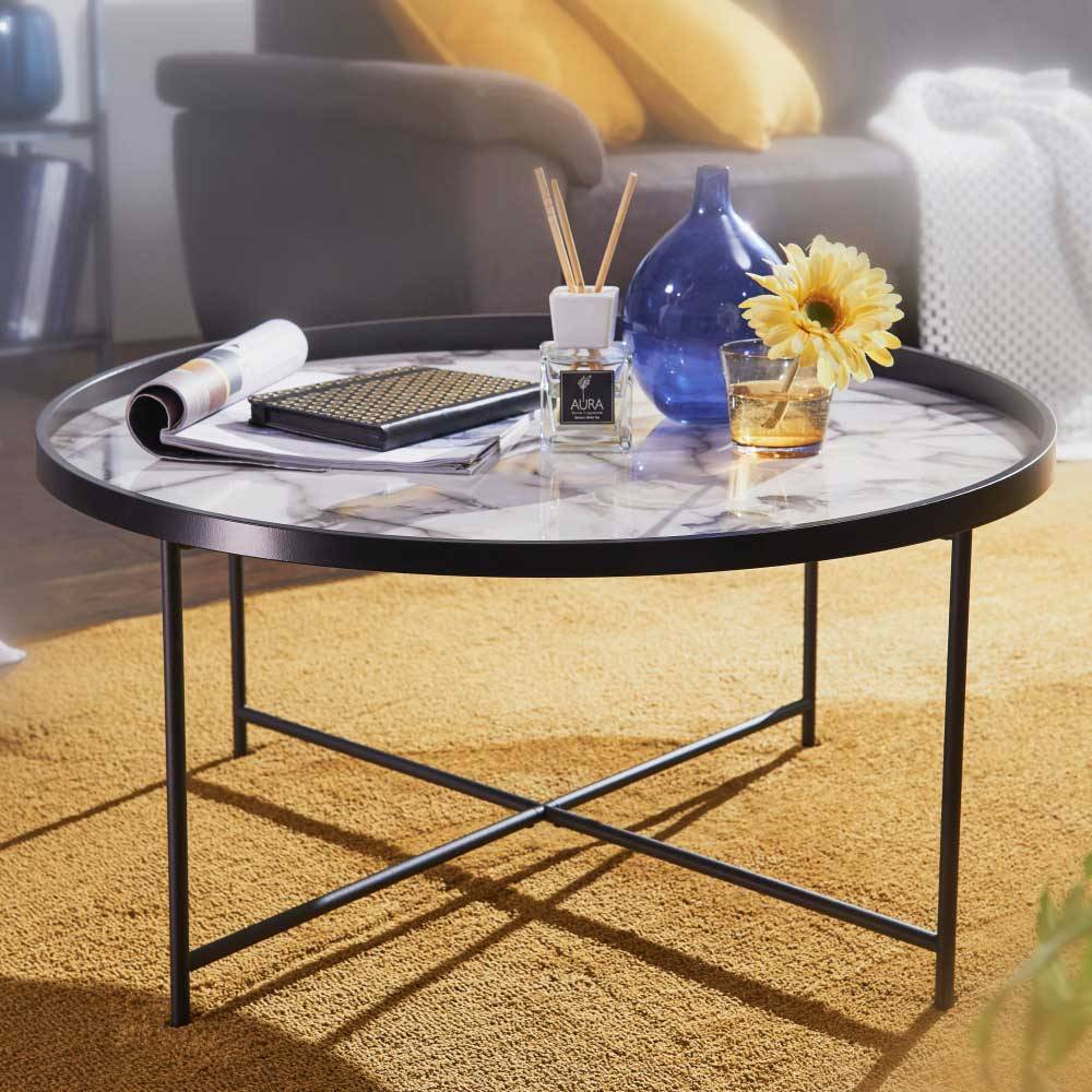 Runder Couchtisch in Schwarz weißer Tischplatte in Marmor Optik