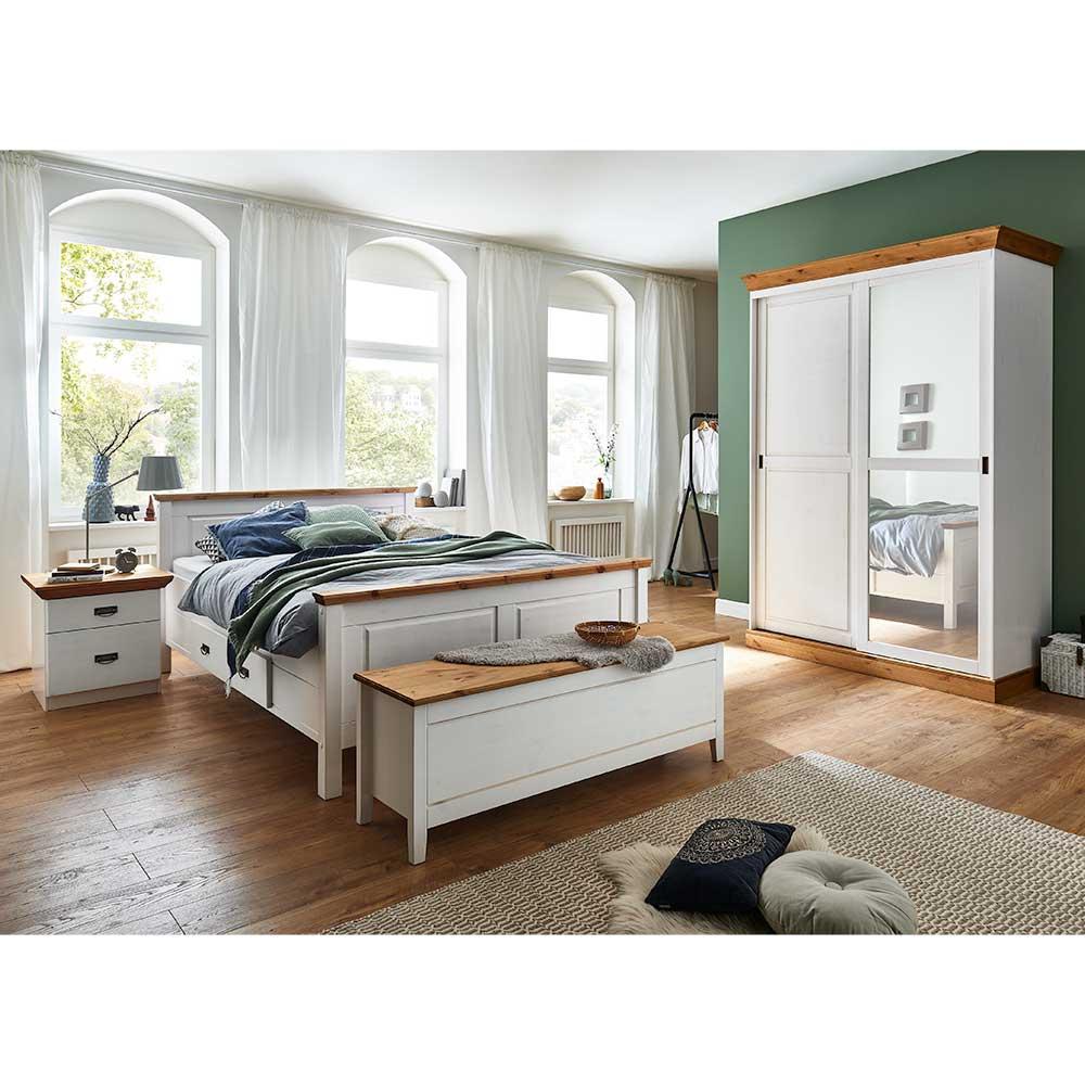 Schlafzimmerset in Weiß Kiefer teilmassiv Landhausstil (fünfteilig)