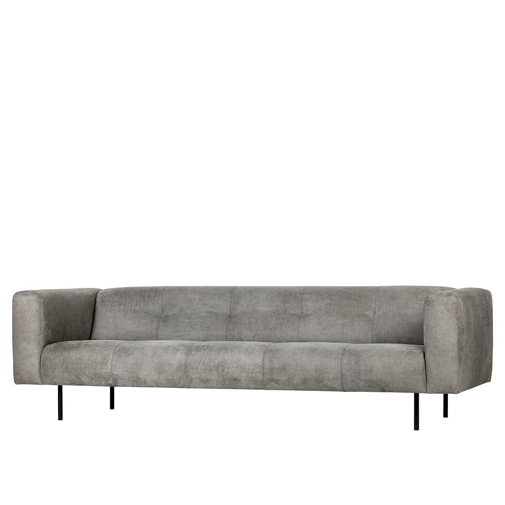 Dreisitzer Sofa in Hellgrau Microfaser Armlehnen