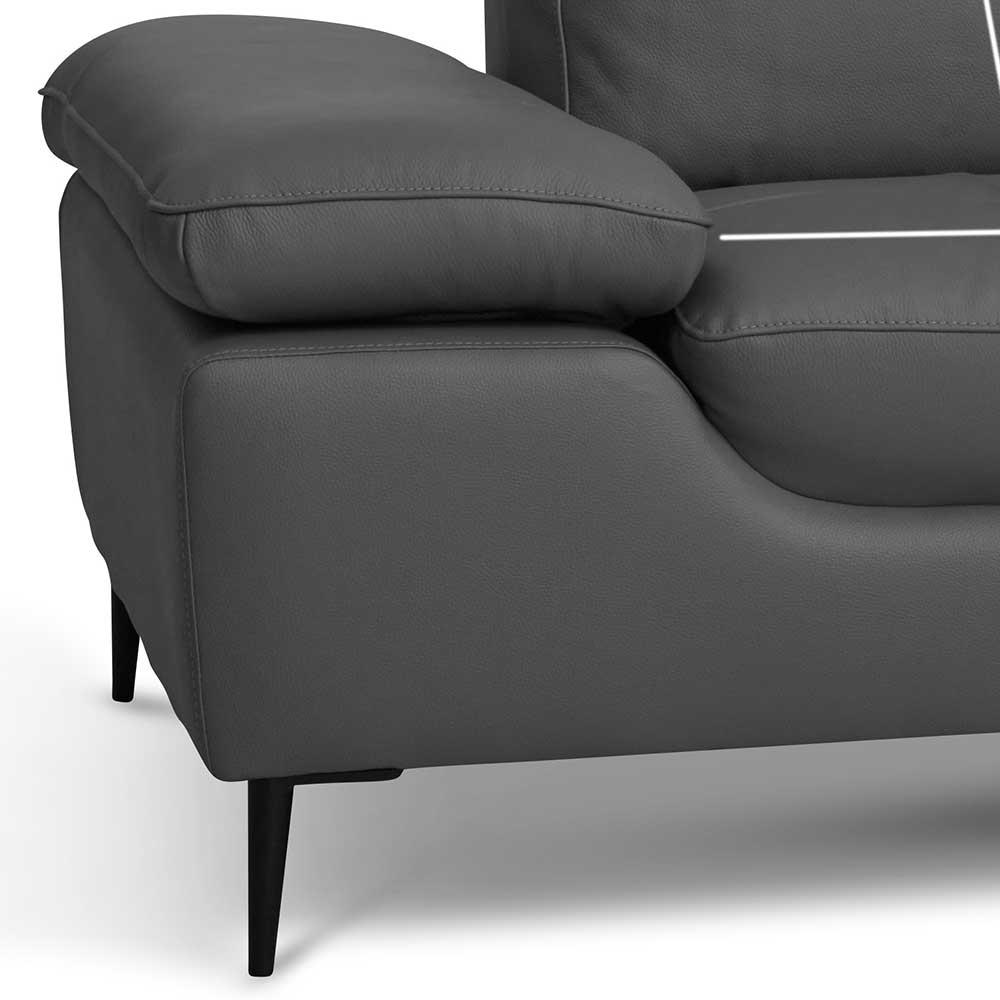 Zweisitzer Sofa in Grau verstellbaren Armlehnen