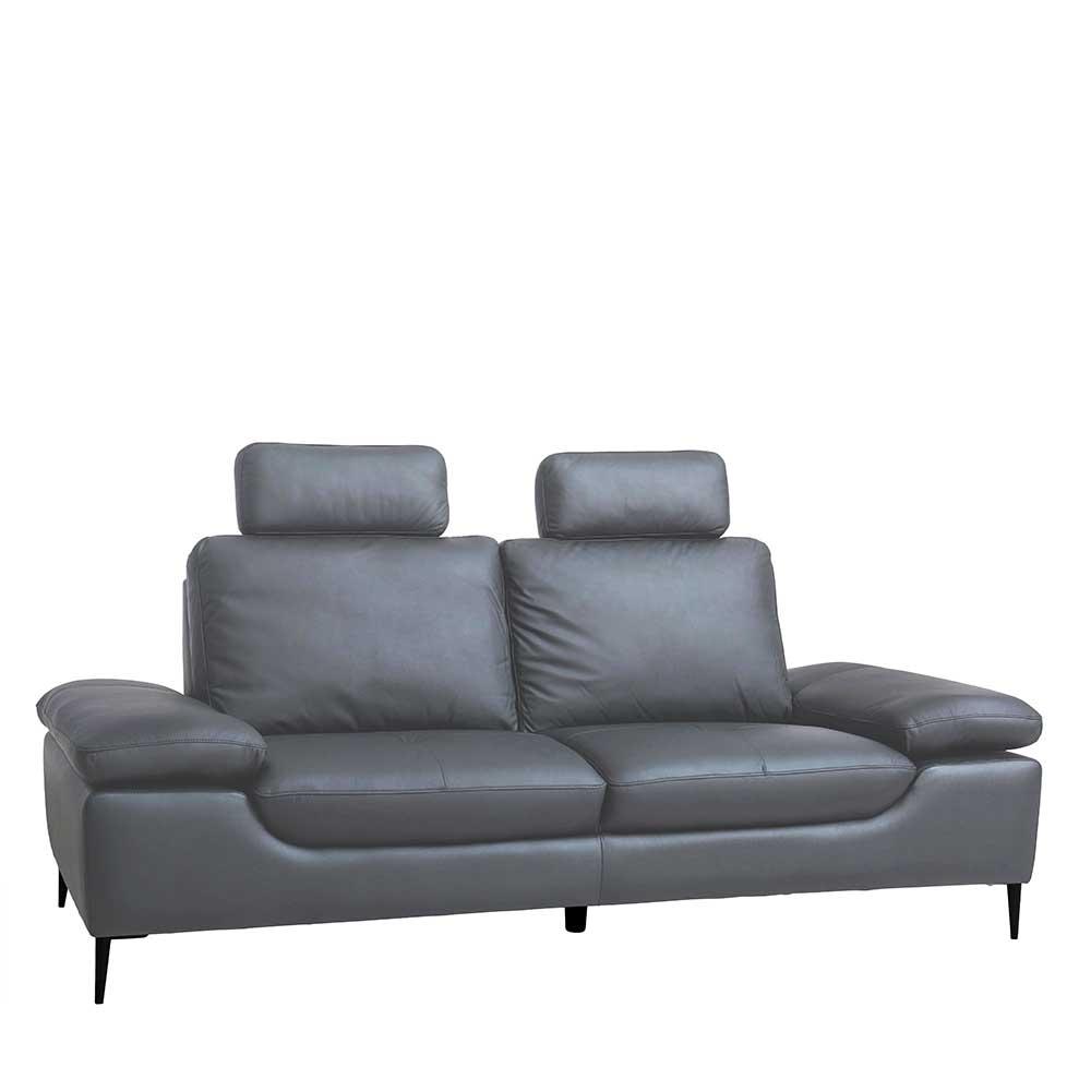 Dreisitzer Sofa in Grau verstellbaren Armlehnen und Steck-Kopfstütze