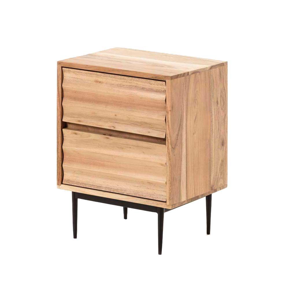 Nachttisch aus Akazie Massivholz zwei Schubladen