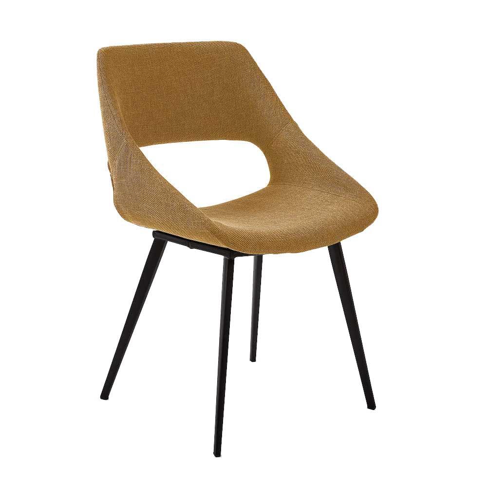 Esszimmer Stühle in Gelb Webstoff Metallgestell in Schwarz (2er Set)