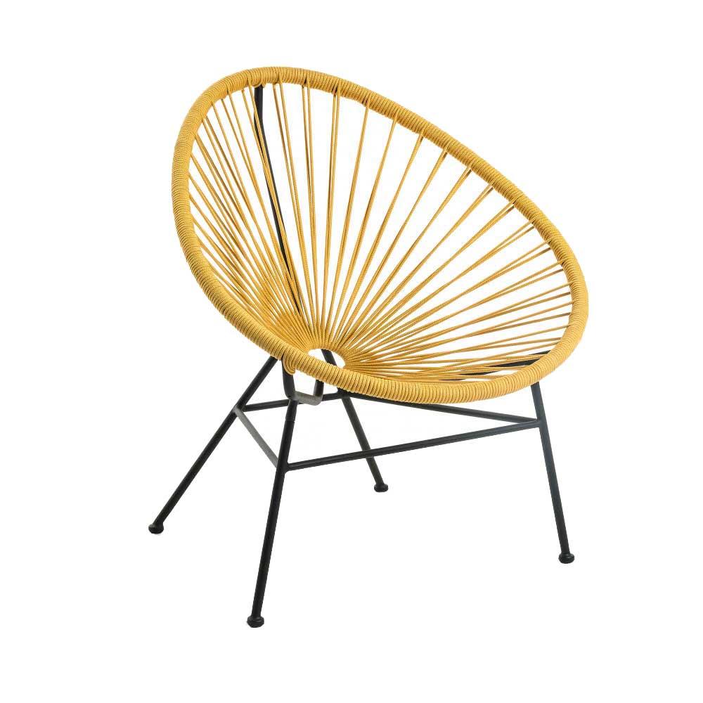 Retro Sessel in Gelb Kordel Geflecht und Stahl (2er Set)