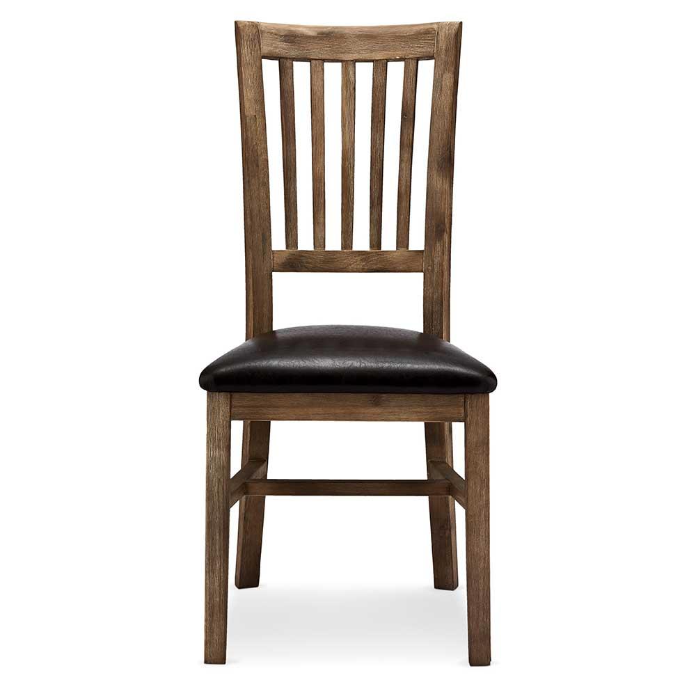 Landhaus Esstisch Stühle im rustikalen Look Akazie Massivholz (2er Set)