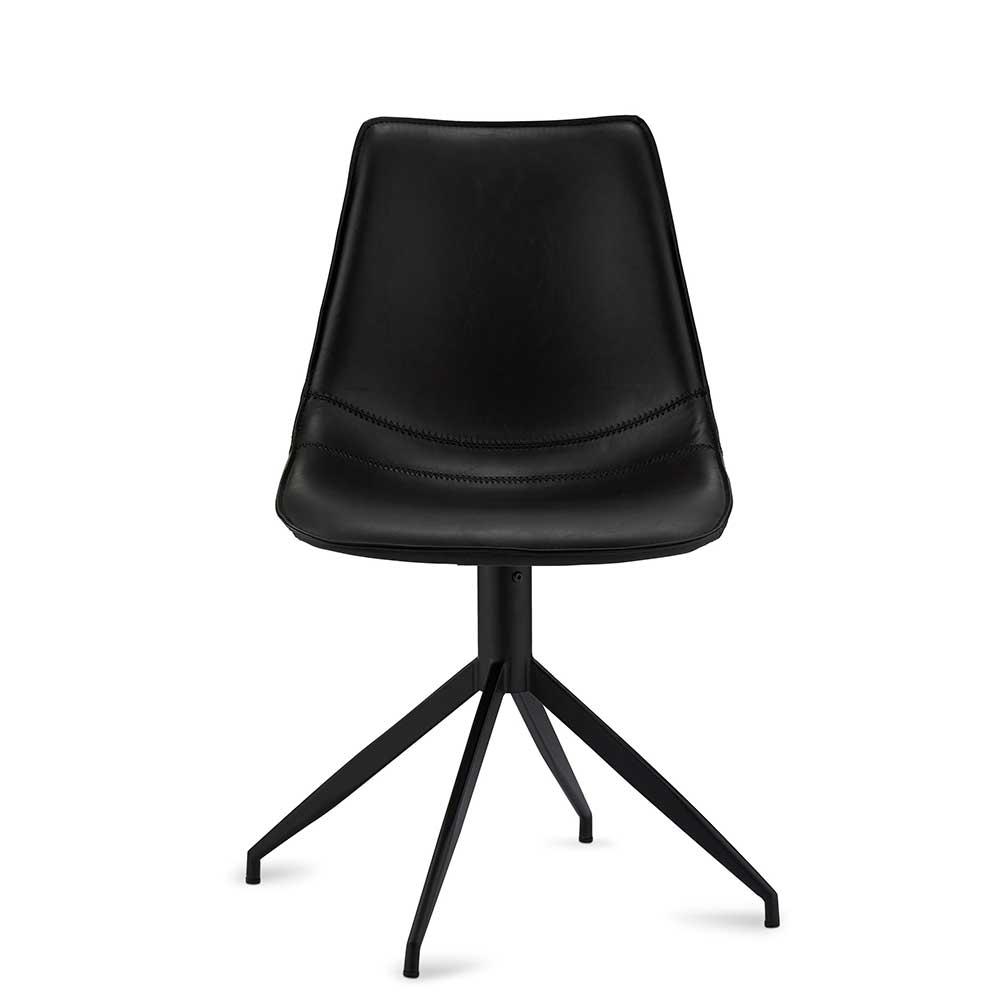 Esstisch Stühle drehbar Schwarz Kunstleder (2er Set)