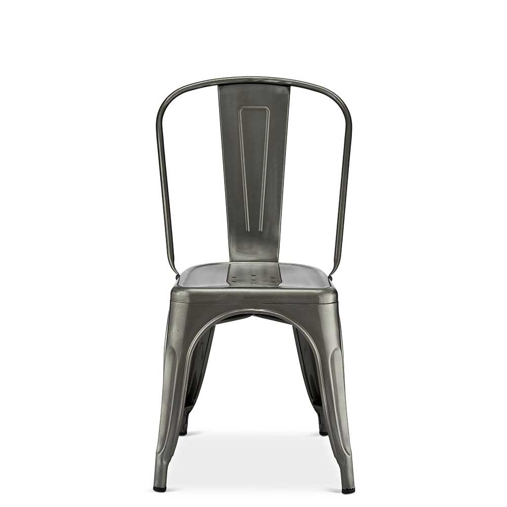 Esstisch Stühle in Silberfarben Stahl (4er Set)