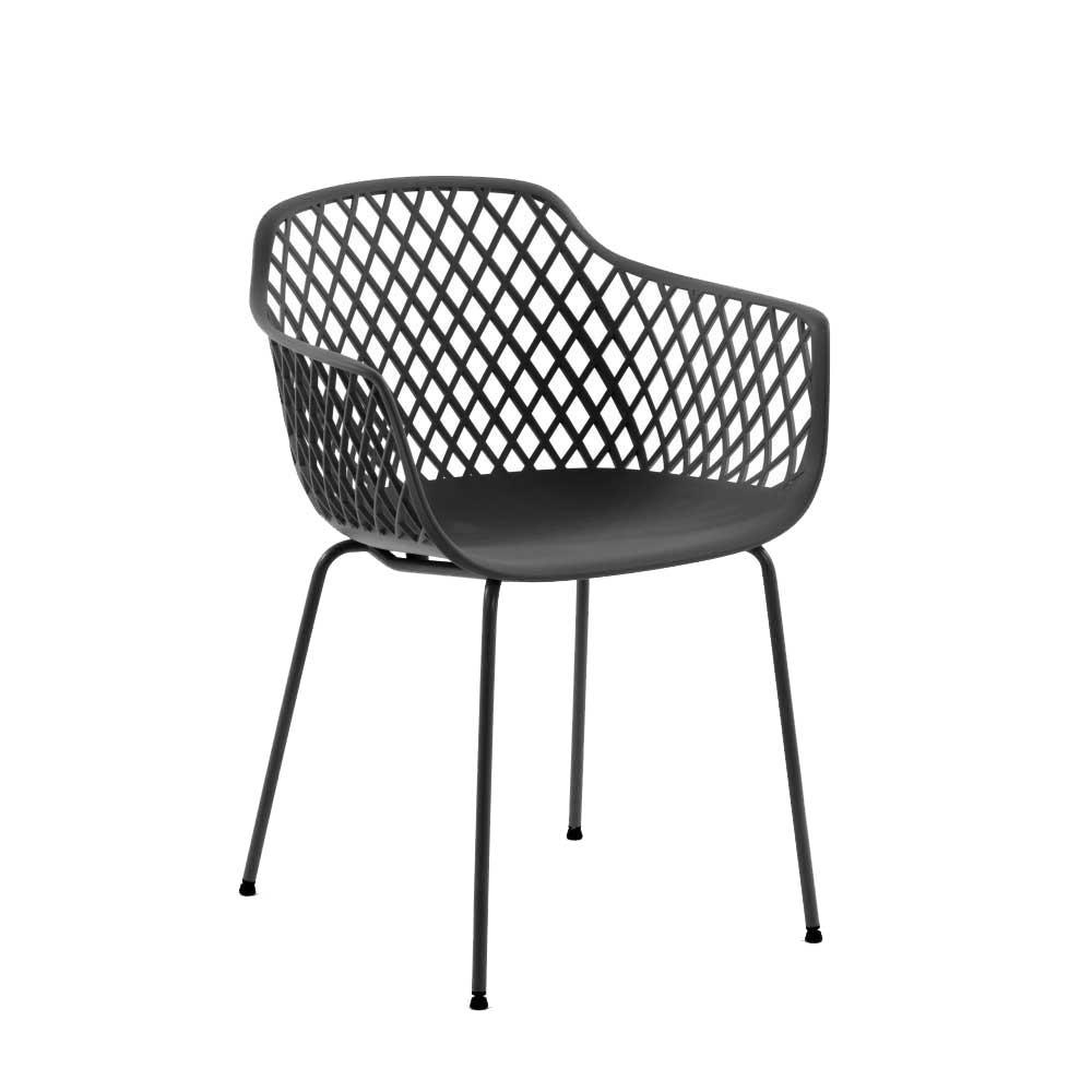 Esstisch Stühle in Grau Kunststoff Armlehnen (4er Set)