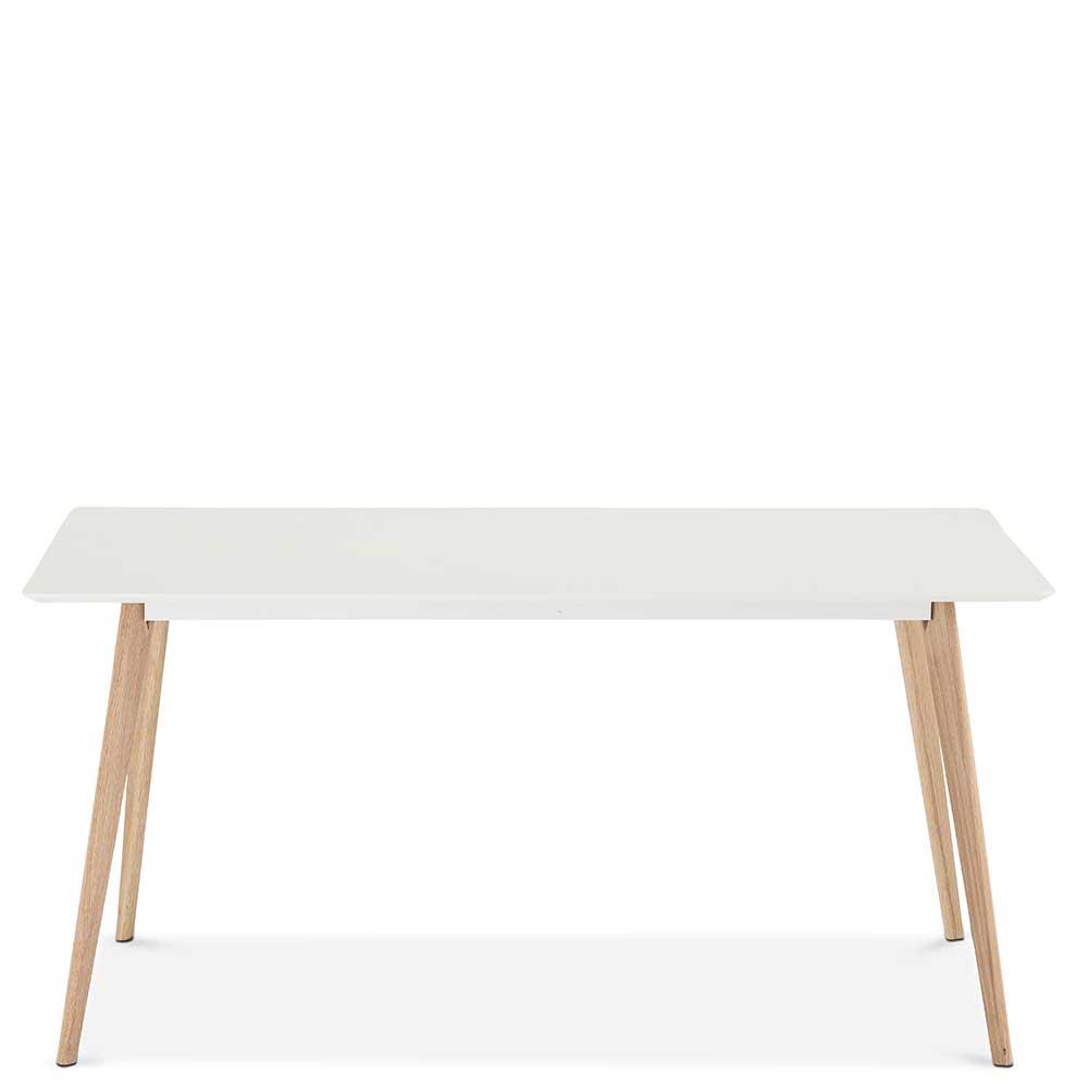 Esstisch in Weiß und Eichefarben 160 cm breit