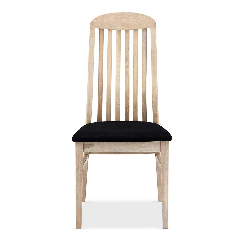 Esstisch Stühle aus Eiche massiv weiß geölt hoher Lehne (2er Set)