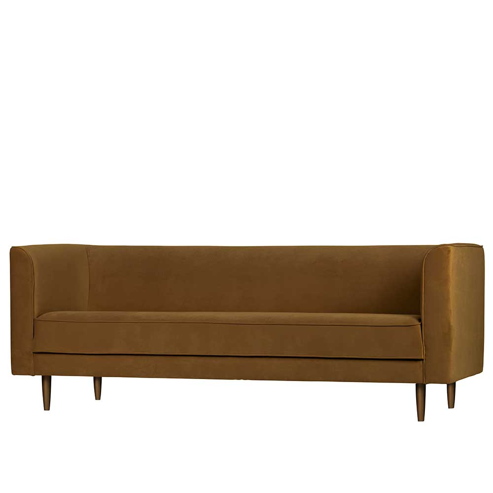 Dreisitzer Sofa in Braun Samt Retro Style