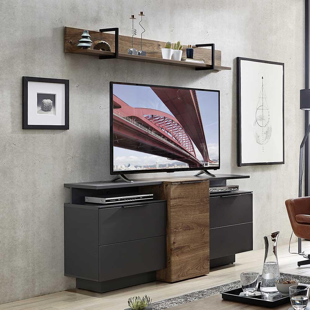 Wohnzimmermöbel Set in Dunkelgrau Eiche dunkel Optik (7-teilig)