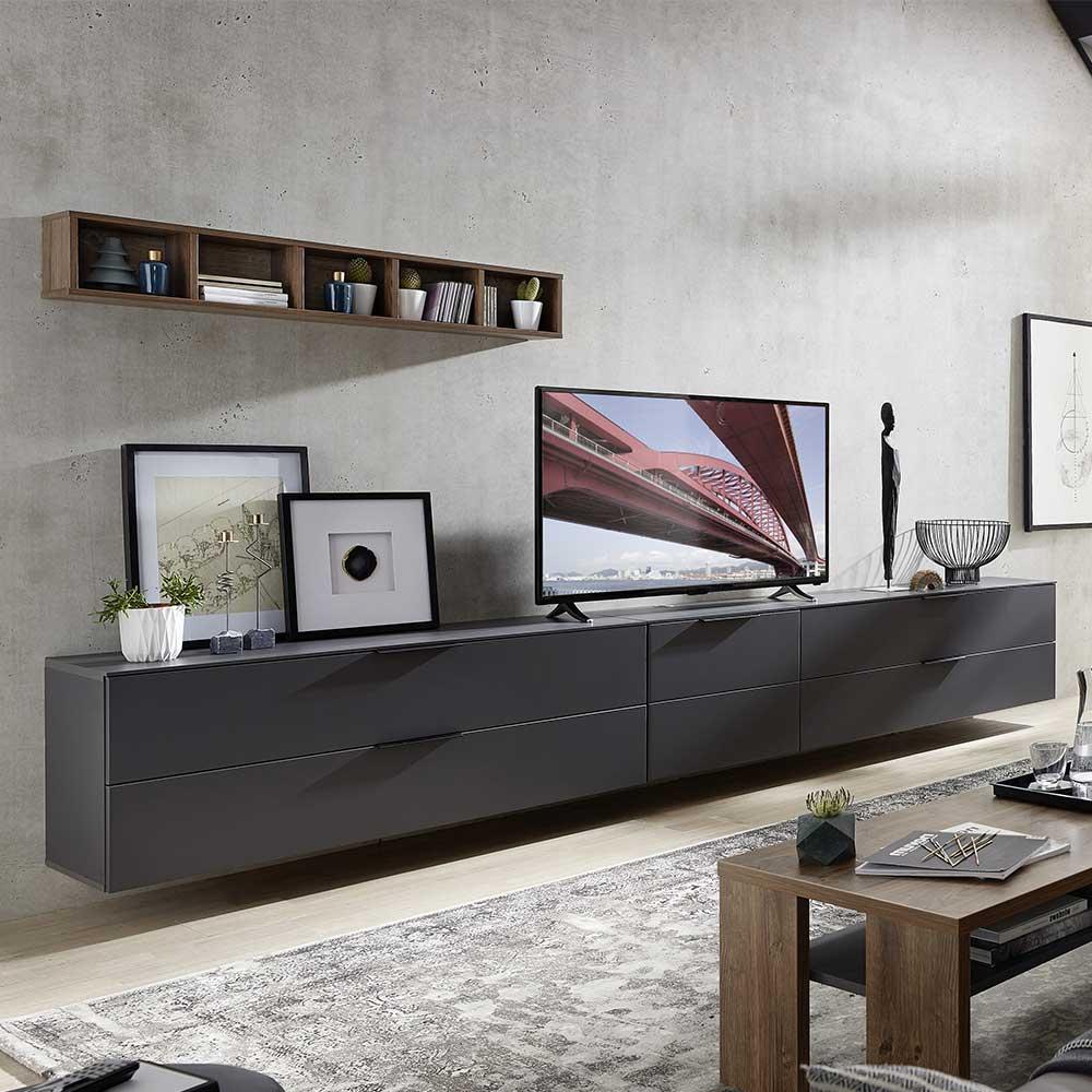 TV Wohnwand in Dunkelgrau und Eiche dunkel Optik 340 cm breit (vierteilig)
