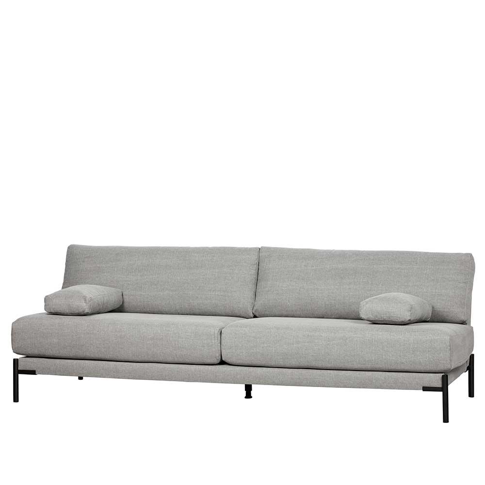 Dreier Sofa in Hellgrau Webstoff Federkern