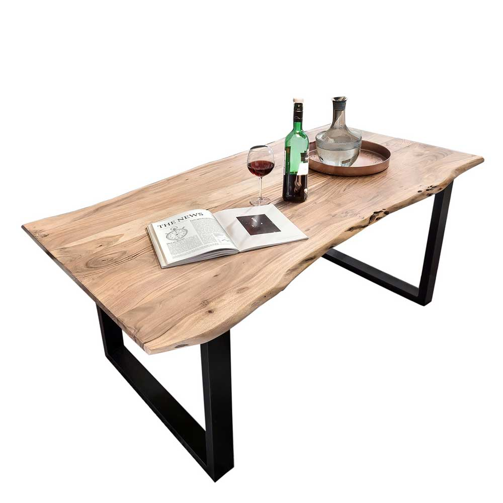 Baumkanten Küchentisch aus Akazie Massivholz Bügelgestell | Küche und Esszimmer > Esstische und Küchentische | Möbel Exclusive