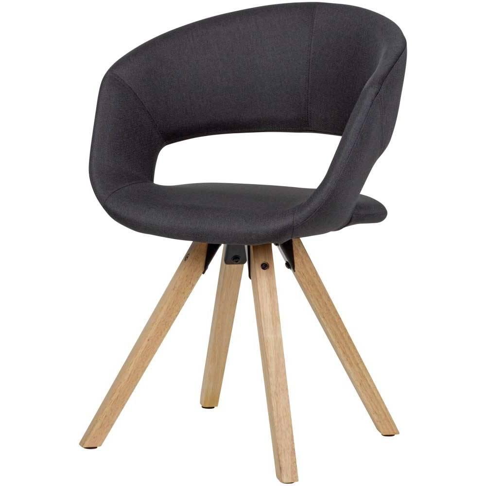 Esstisch Stuhl in Schwarz Webstoff modern