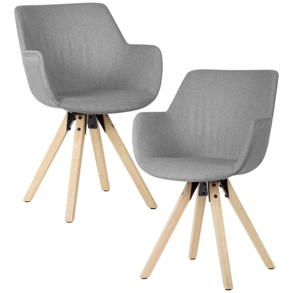 Esstisch Stühle in Hellgrau Webstoff Armlehnen (2er Set)