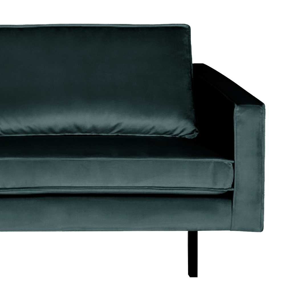 Zweisitzer Sofa in Petrol Samt Retro Design