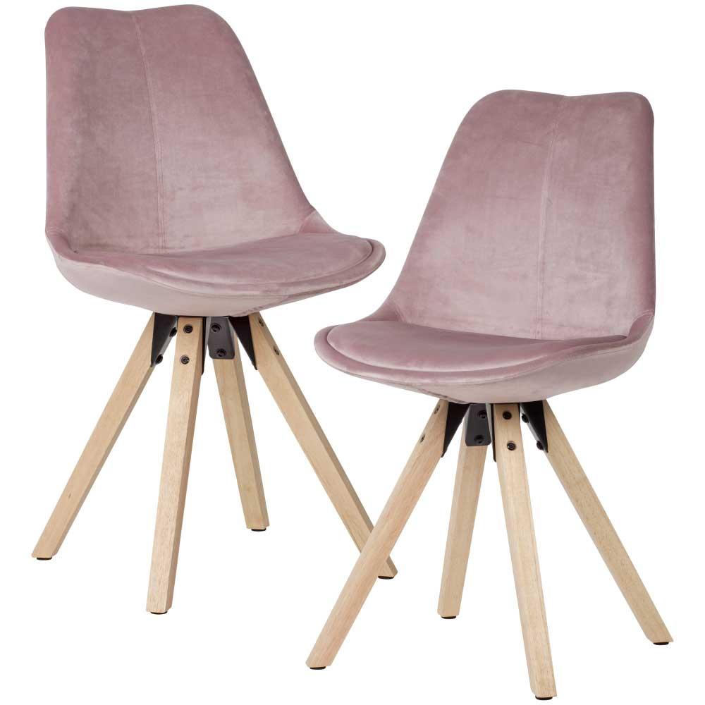 Esstisch Stühle in Rosa Samt Massivholzgestell (2er Set)