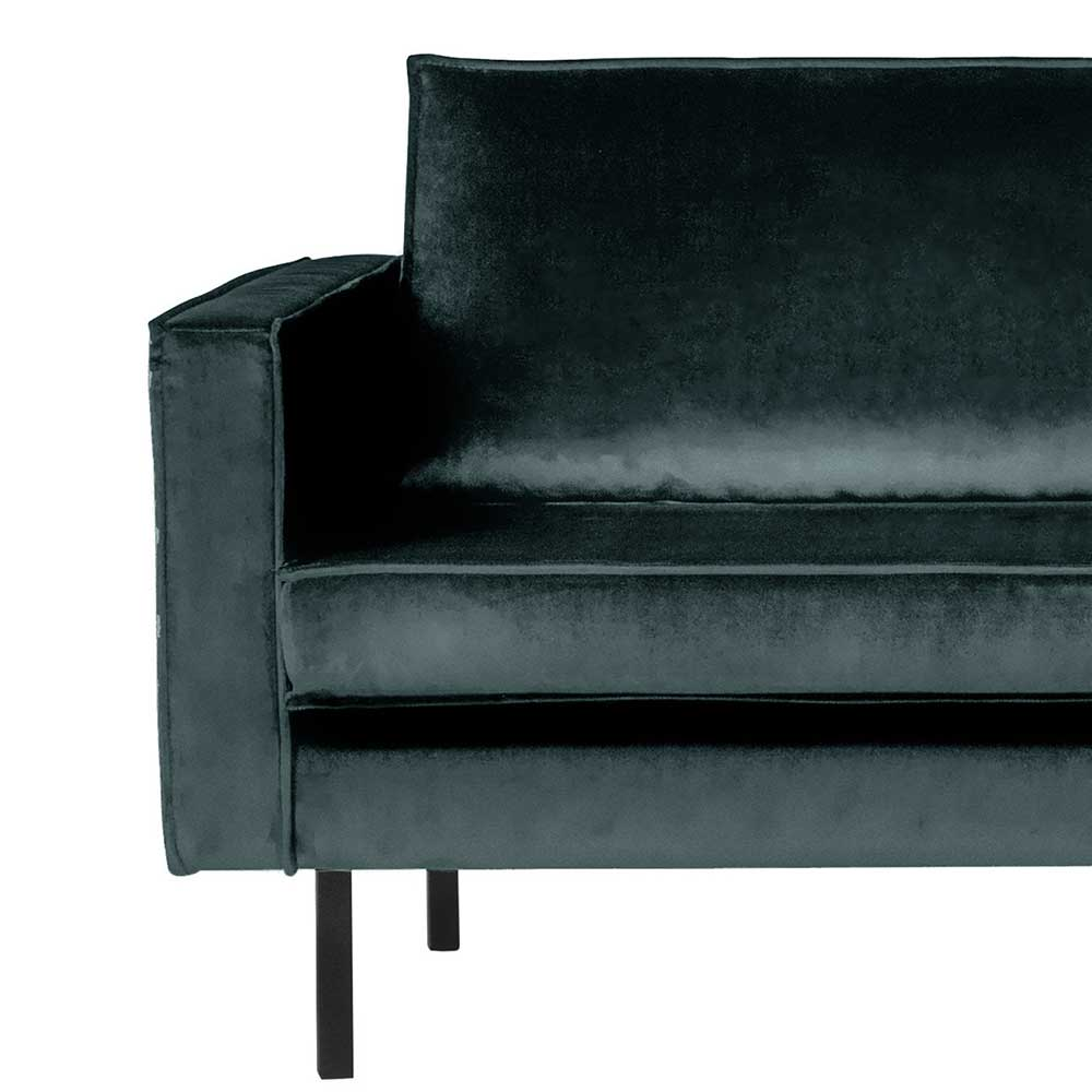 Couch Recamiere in Petrol Samt Retro Look